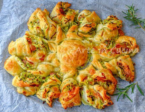 Girasole con zucchine e prosciutto antipasto di sfoglia