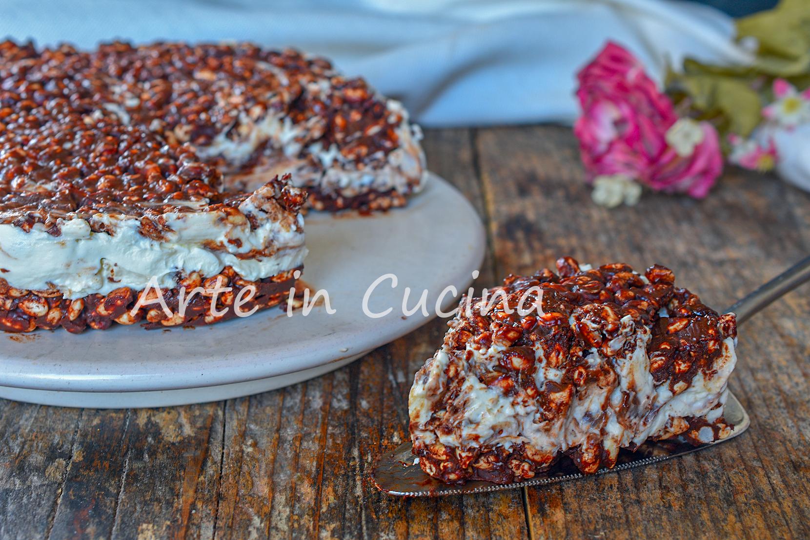 Cheesecake con riso soffiato al mascarpone e nutella