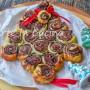 Albero di Natale alla nutella con rose di sfoglia veloce