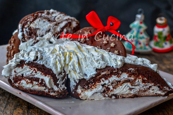 Tronchetto pan di stelle e nutella natalizio senza cottura