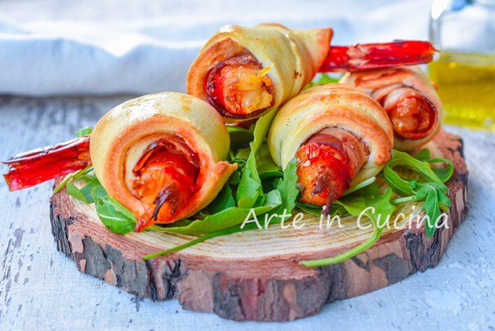 Gamberoni in crosta con pancetta