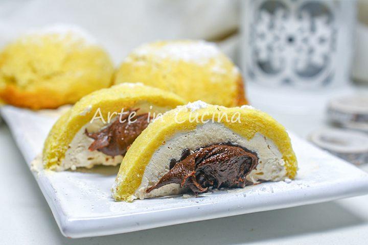 Semisfere di pandoro al caffè e nutella