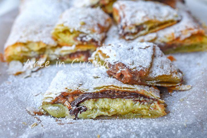 Cheesecake di sfoglia pistacchio e nutella
