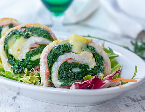Girelle di pollo gratinate speck e spinaci