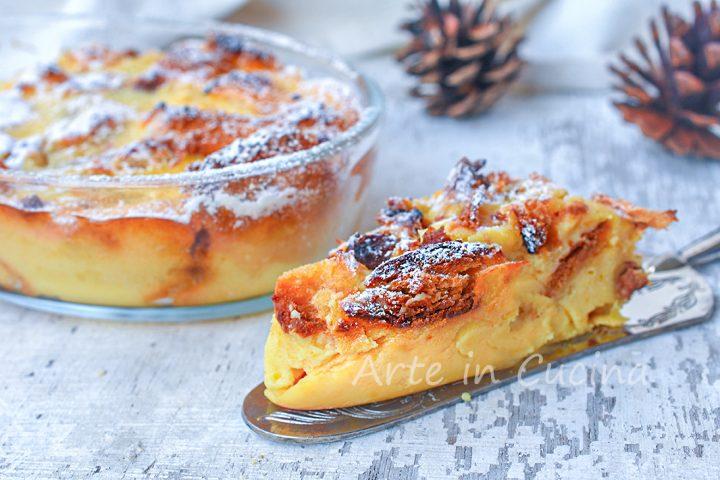 Torta di panettone e crema pasticcera al forno