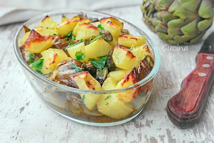 Patate e carciofi al forno contorno facile