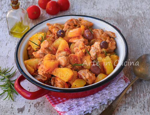 Pollo patate e olive in padella