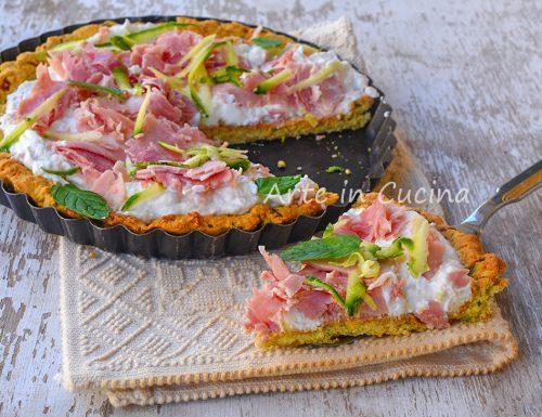 Crostata di zucchine e prosciutto leggera
