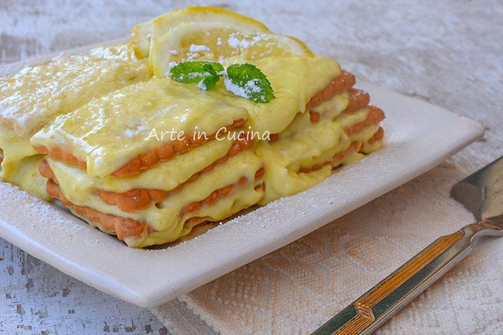 Mattonella al limone con biscotti