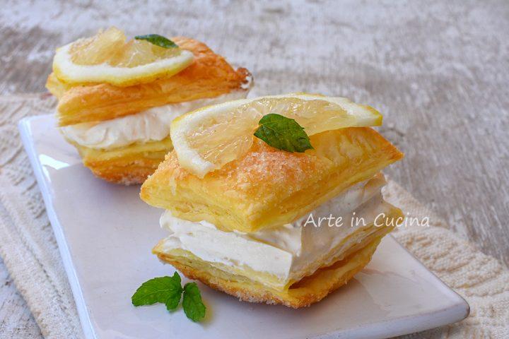 Sfogliatine al limone con panna e mascarpone
