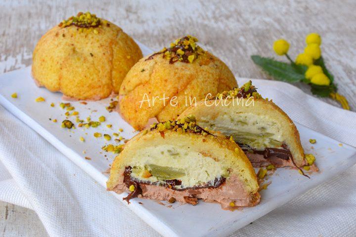 Zuccotto nutella e pistacchio monoporzione