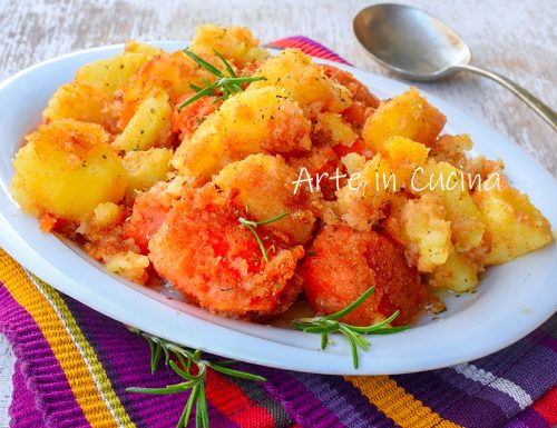 Patate e zucca gratinate in padella