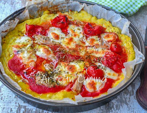 Pizza di cavolfiore tonno e pomodori
