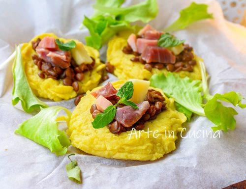 Crostini di patate con lenticchie antipasto di Capodanno