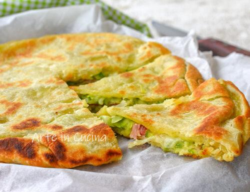 Crostata zucchine e prosciutto in padella
