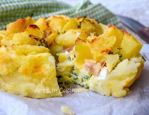 Sbriciolata patate mortadella con zucchine e ricotta