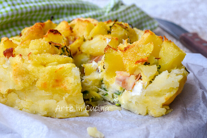 Sbriciolata patate mortadella zucchine e ricotta