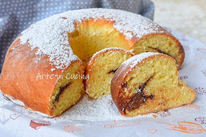 Ciambella cocco e nutella pan brioche soffice