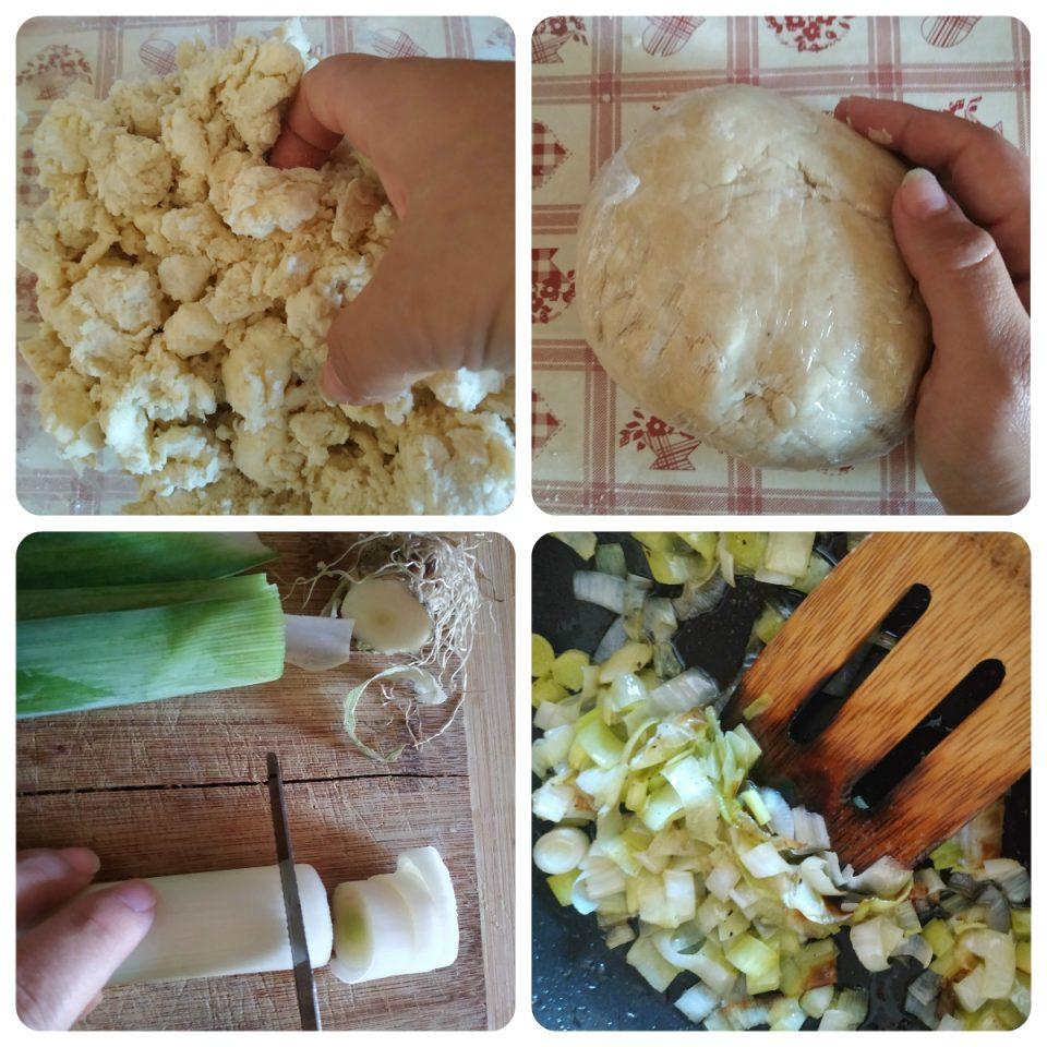 Procedimento per preparare la galette salata con patate e porri