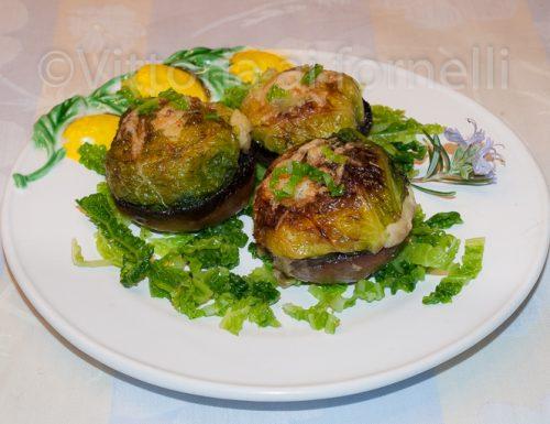 Funghi ripieni con verza mozzarella e patate