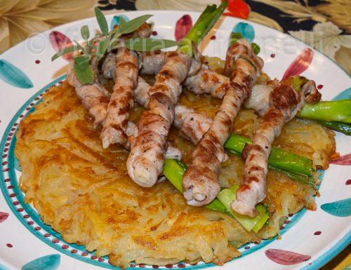 Involtini di pancetta fresca, cipollate catanesi