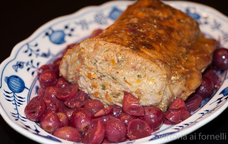 Lonza arrosto farcita, con salsa all'uva