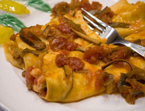 Cannelloni con mozzarella e ratatouille