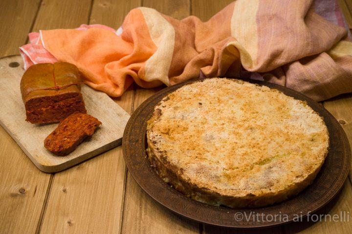 torta di patate con nduja, formaggio e bietole