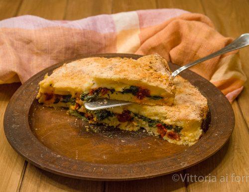 Torta di patate con nduja di Spilinga, provola e bietole
