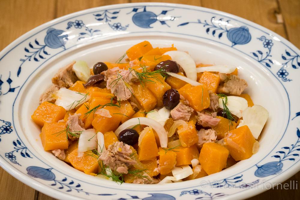 insalata di zucca con finocchi e tonno