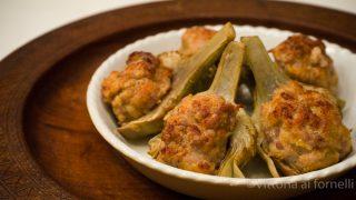 carciofi gratinati ripieni con salsiccia