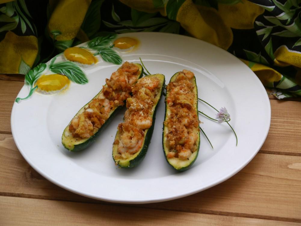 Zucchine gratinate ripiene ai gamberetti