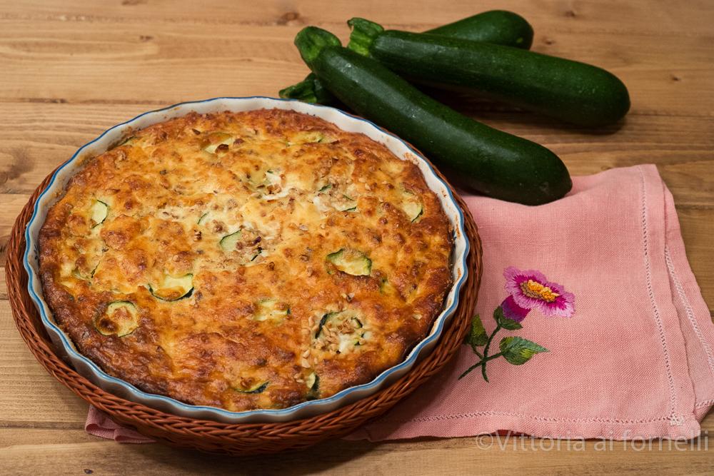 Tortino di zucchine e ricotta con mandorle croccanti