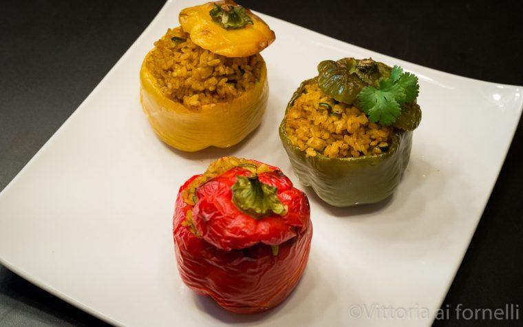 Peperoni ripieni di riso al curry