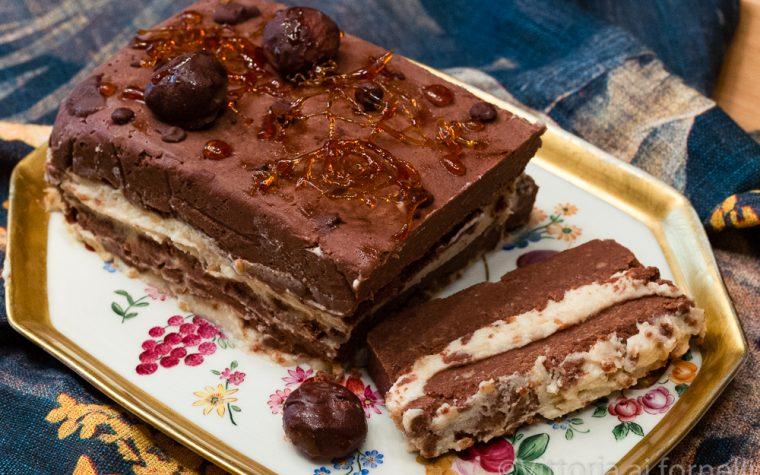 Mattonella di castagne con cioccolato e ricotta