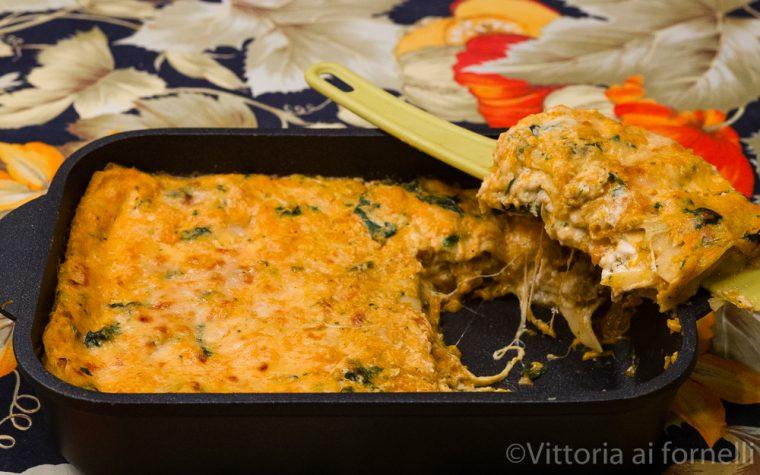 Lasagne alla zucca con stracciatella e spinaci