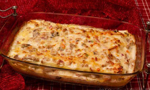 Lasagne con ragù bianco e champignon