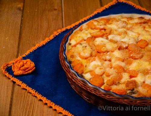 Tortino di carote con funghi e mozzarella filante