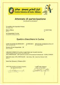 ATTESTATO CORSO CUCINA ARABA