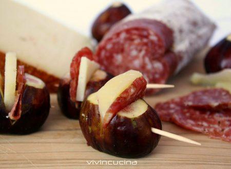 FICHI PECORINO SALAME RICETTA FINGER FOOD