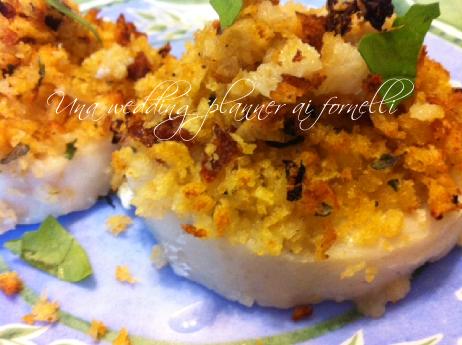 Sbriciolona di pesce - cuori di merluzzo con panatura di pomodori secchi