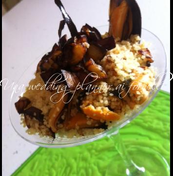 Mix interculturale : insalatina tiepida di cous cous con melanzane e cozze