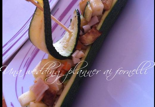 Barchette di zucchine con polpa di granchio e mela verde