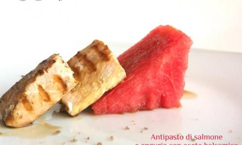 Antipasto di salmone e anguria