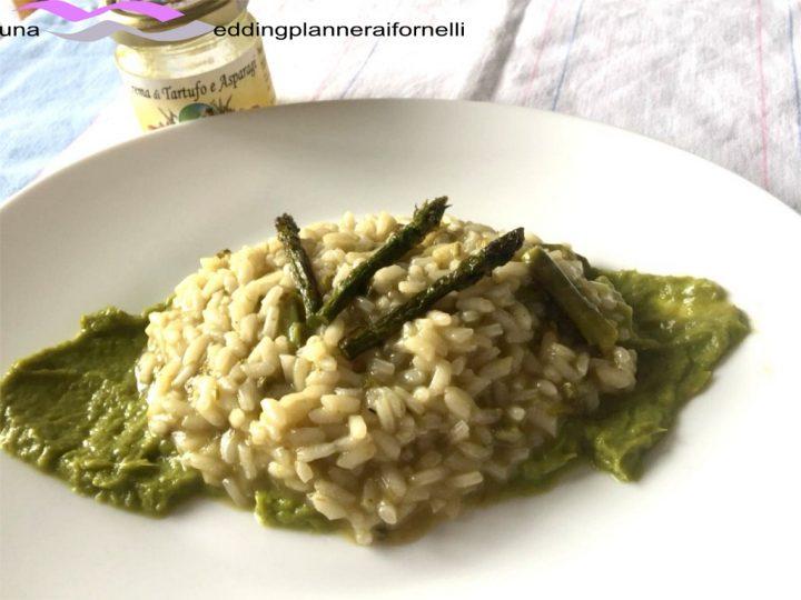 risottoal tartufo bianco e asparagi su crema di asparagi e parmigiano