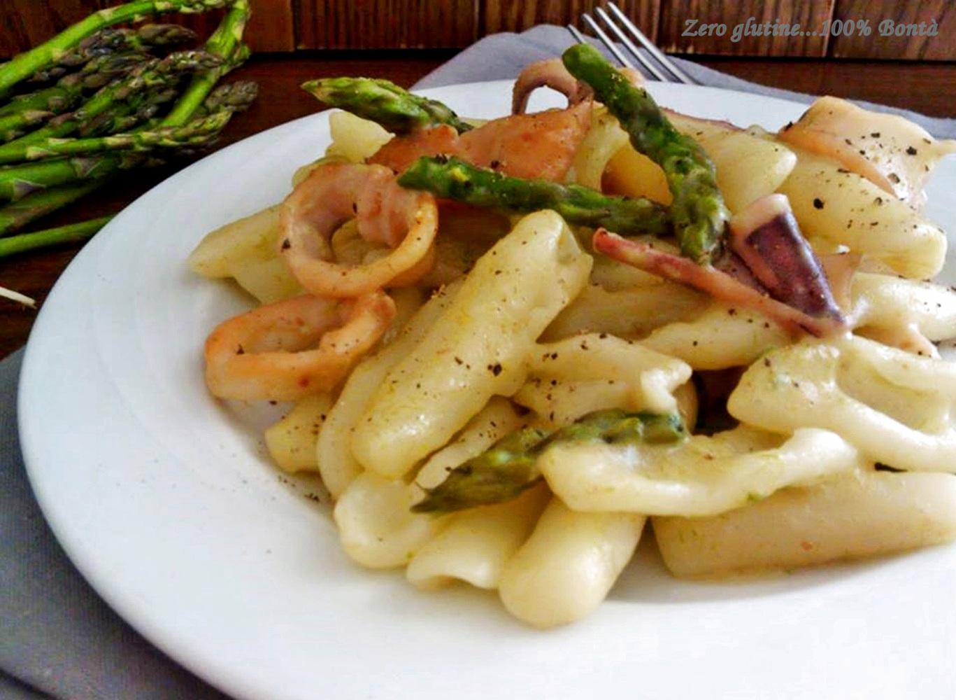 Cavatelli con gli asparagi e calamari