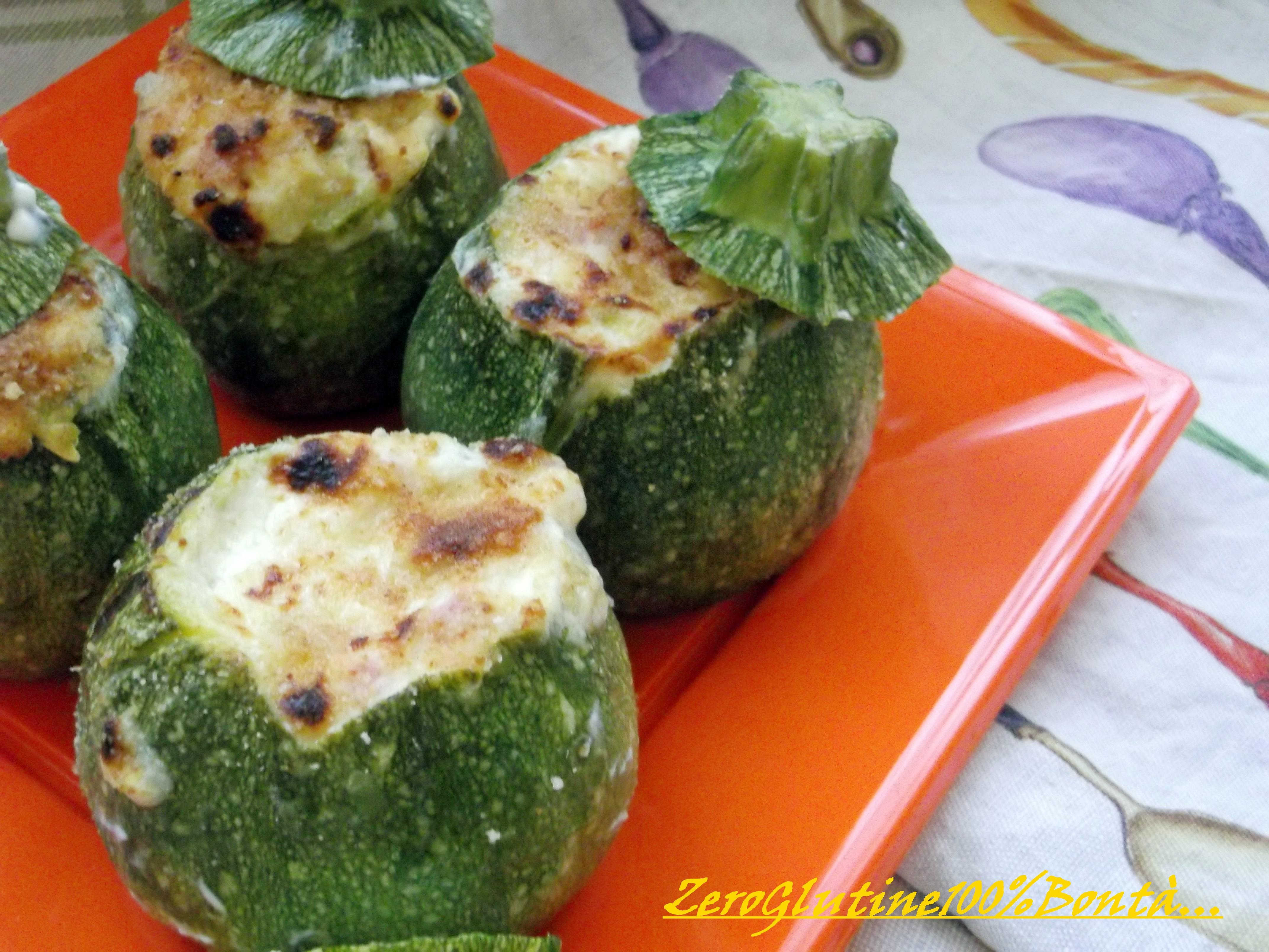 Zucchine Tonde Ripiene (con stracchino e prosciutto cotto)
