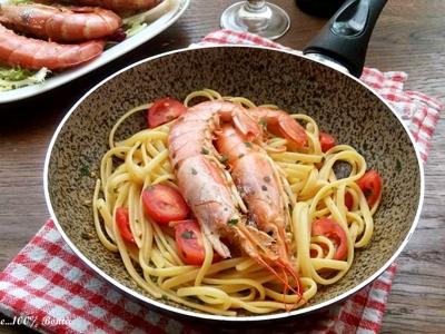 Linguine con gamberoni