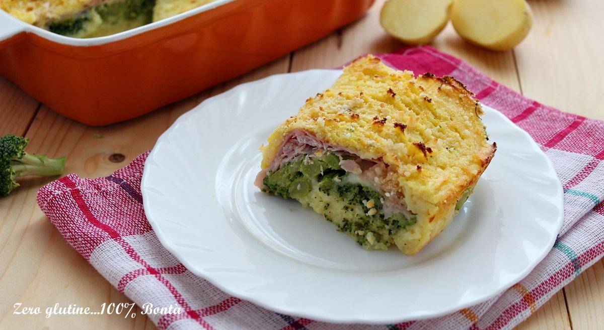 Tortino di patate con broccoli e prosciutto cotto