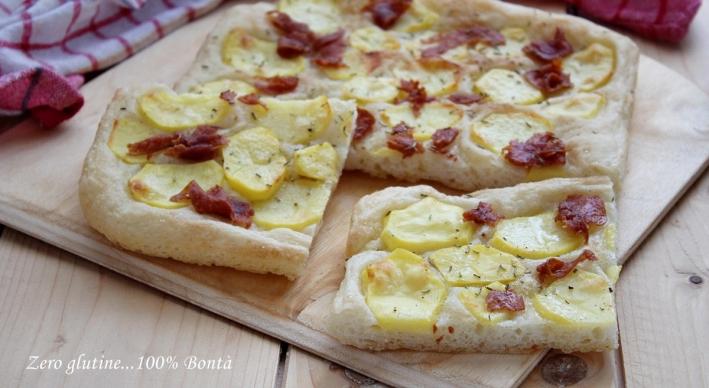 Pizza bianca con le patate e salame